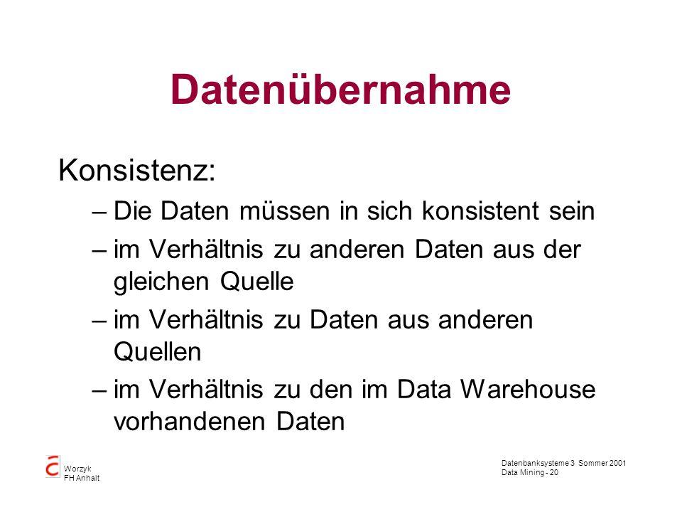 Datenbanksysteme 3 Sommer 2001 Data Mining - 20 Worzyk FH Anhalt Datenübernahme Konsistenz: –Die Daten müssen in sich konsistent sein –im Verhältnis z