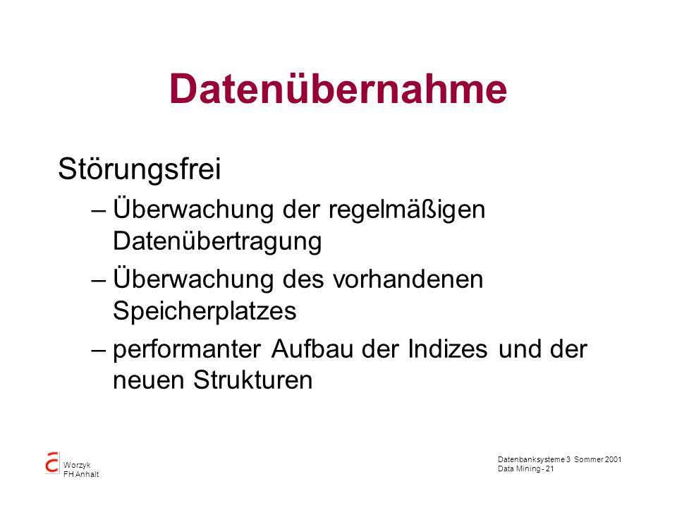 Datenbanksysteme 3 Sommer 2001 Data Mining - 21 Worzyk FH Anhalt Datenübernahme Störungsfrei –Überwachung der regelmäßigen Datenübertragung –Überwachu