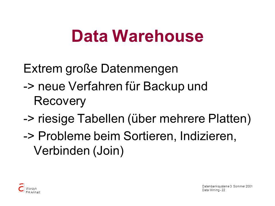 Datenbanksysteme 3 Sommer 2001 Data Mining - 22 Worzyk FH Anhalt Data Warehouse Extrem große Datenmengen -> neue Verfahren für Backup und Recovery ->