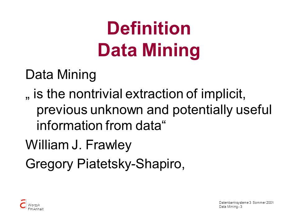 Datenbanksysteme 3 Sommer 2001 Data Mining - 4 Worzyk FH Anhalt Leistungsmerkmale Hypothesenfreiheit Automatisierte Vorhersage von Trends, Verhalten und Mustern Automatisierte Aufdeckung unbekannter Strukturen Zusatzkomponenten für Preprocessing und Ergebnisaufbereitung