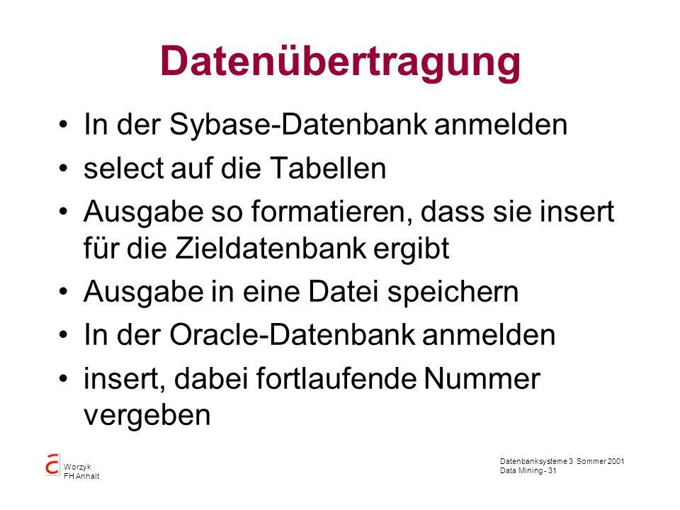 Datenbanksysteme 3 Sommer 2001 Data Mining - 31 Worzyk FH Anhalt Datenübertragung In der Sybase-Datenbank anmelden select auf die Tabellen Ausgabe so
