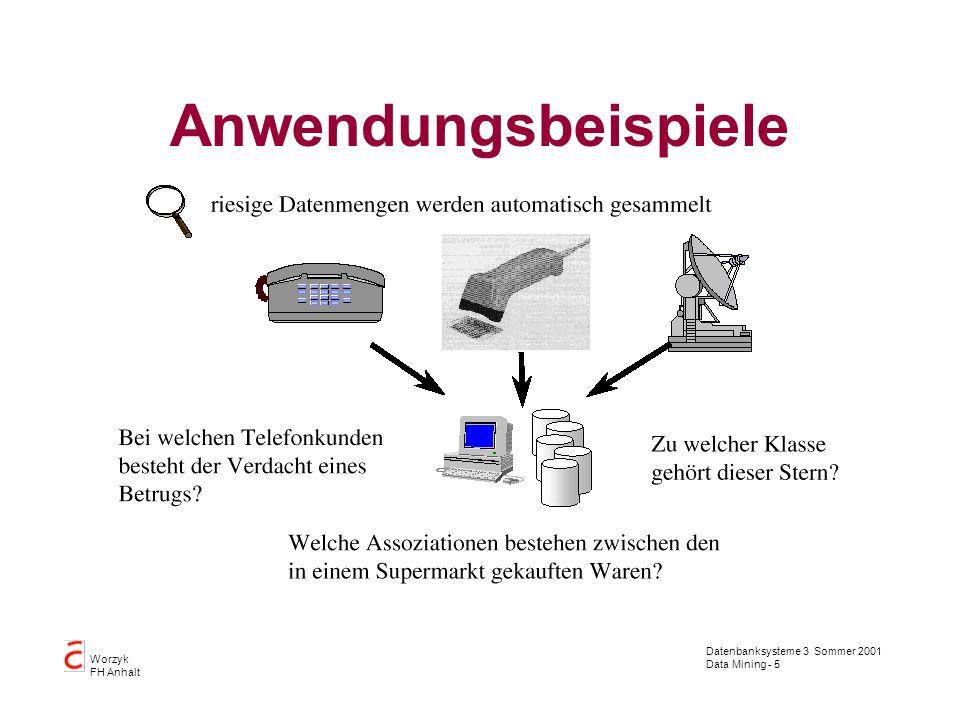 Datenbanksysteme 3 Sommer 2001 Data Mining - 5 Worzyk FH Anhalt Anwendungsbeispiele