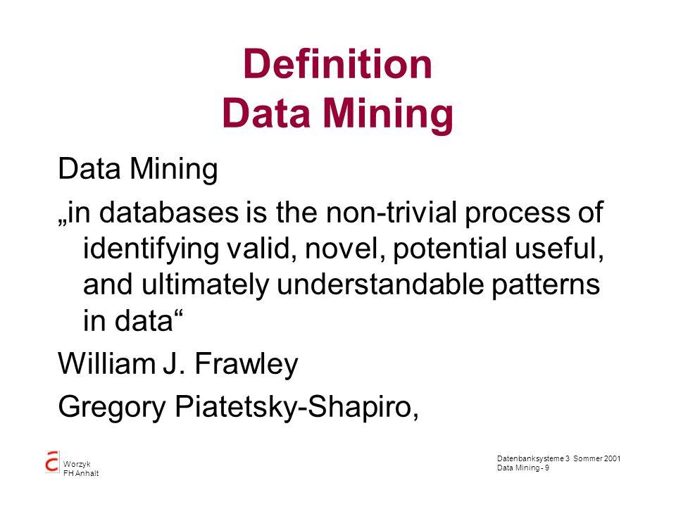 Datenbanksysteme 3 Sommer 2001 Data Mining - 20 Worzyk FH Anhalt Datenübernahme Konsistenz: –Die Daten müssen in sich konsistent sein –im Verhältnis zu anderen Daten aus der gleichen Quelle –im Verhältnis zu Daten aus anderen Quellen –im Verhältnis zu den im Data Warehouse vorhandenen Daten