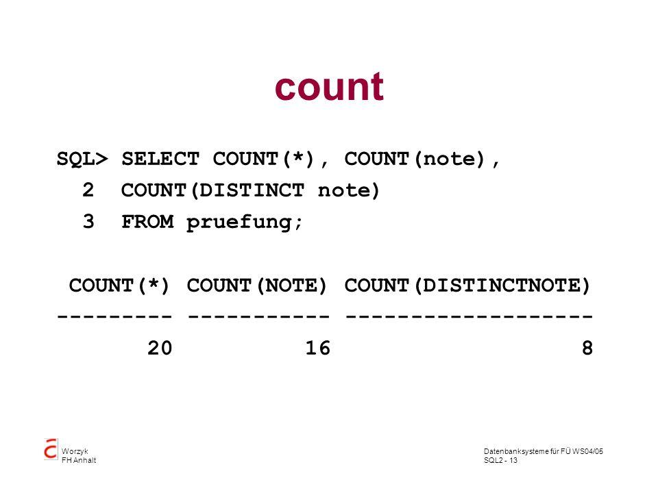 Datenbanksysteme für FÜ WS04/05 SQL2 - 13 Worzyk FH Anhalt count SQL> SELECT COUNT(*), COUNT(note), 2 COUNT(DISTINCT note) 3 FROM pruefung; COUNT(*) C