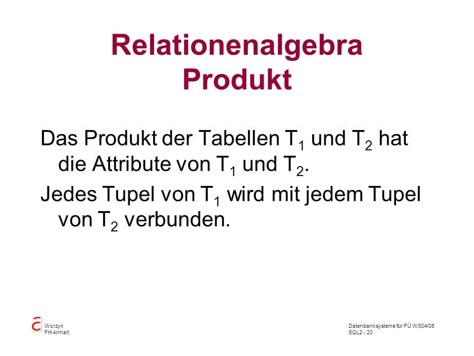 Datenbanksysteme für FÜ WS04/05 SQL2 - 20 Worzyk FH Anhalt Relationenalgebra Produkt Das Produkt der Tabellen T 1 und T 2 hat die Attribute von T 1 un