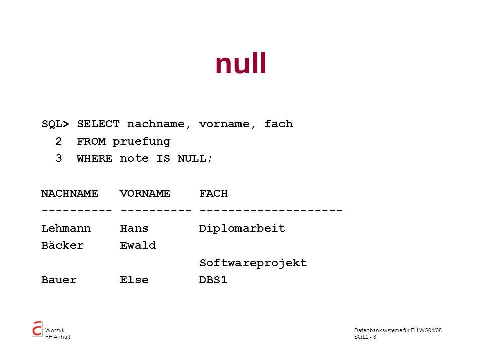 Datenbanksysteme für FÜ WS04/05 SQL2 - 8 Worzyk FH Anhalt null SQL> SELECT nachname, vorname, fach 2 FROM pruefung 3 WHERE note IS NULL; NACHNAME VORN