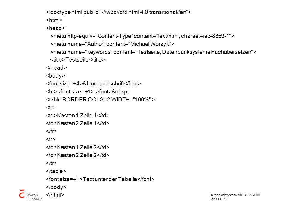 Datenbanksysteme für FÜ SS 2000 Seite 11 - 17 Worzyk FH Anhalt Testseite Überschrift Kasten 1 Zeile 1 Kasten 2 Zeile 1 Kasten 1 Zeile 2 Kasten 2