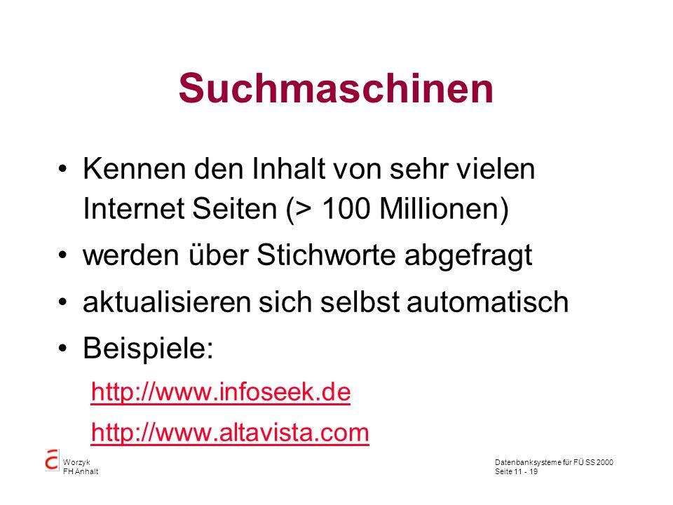 Datenbanksysteme für FÜ SS 2000 Seite 11 - 19 Worzyk FH Anhalt Suchmaschinen Kennen den Inhalt von sehr vielen Internet Seiten (> 100 Millionen) werde