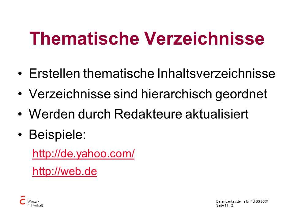 Datenbanksysteme für FÜ SS 2000 Seite 11 - 21 Worzyk FH Anhalt Thematische Verzeichnisse Erstellen thematische Inhaltsverzeichnisse Verzeichnisse sind