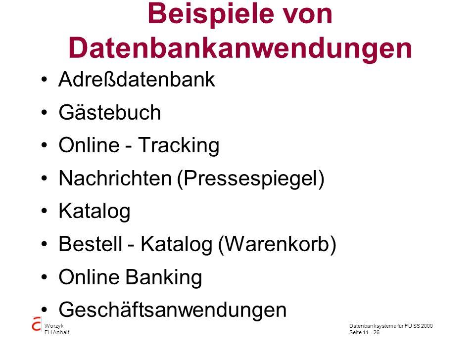 Datenbanksysteme für FÜ SS 2000 Seite 11 - 26 Worzyk FH Anhalt Beispiele von Datenbankanwendungen Adreßdatenbank Gästebuch Online - Tracking Nachricht