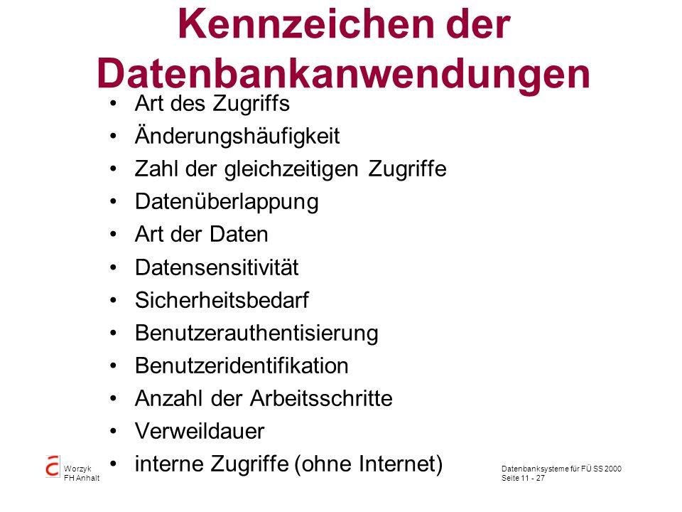 Datenbanksysteme für FÜ SS 2000 Seite 11 - 27 Worzyk FH Anhalt Kennzeichen der Datenbankanwendungen Art des Zugriffs Änderungshäufigkeit Zahl der glei