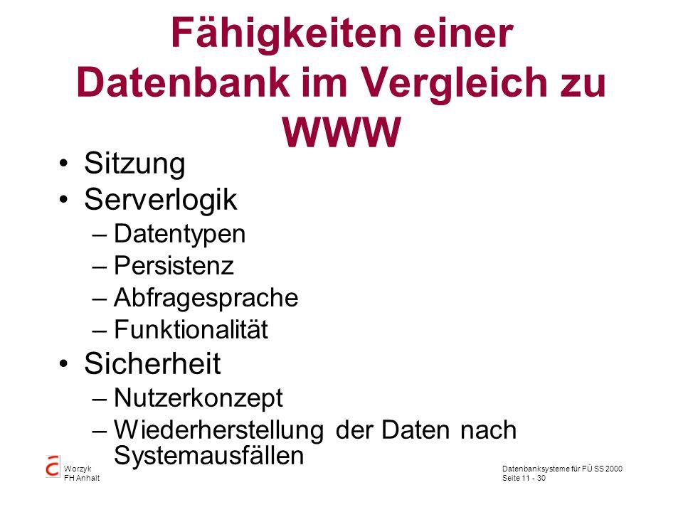 Datenbanksysteme für FÜ SS 2000 Seite 11 - 30 Worzyk FH Anhalt Fähigkeiten einer Datenbank im Vergleich zu WWW Sitzung Serverlogik –Datentypen –Persis