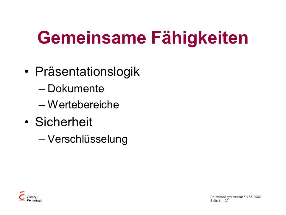 Datenbanksysteme für FÜ SS 2000 Seite 11 - 32 Worzyk FH Anhalt Gemeinsame Fähigkeiten Präsentationslogik –Dokumente –Wertebereiche Sicherheit –Verschl