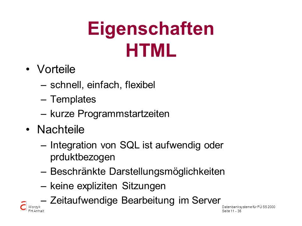 Datenbanksysteme für FÜ SS 2000 Seite 11 - 35 Worzyk FH Anhalt Eigenschaften HTML Vorteile –schnell, einfach, flexibel –Templates –kurze Programmstart