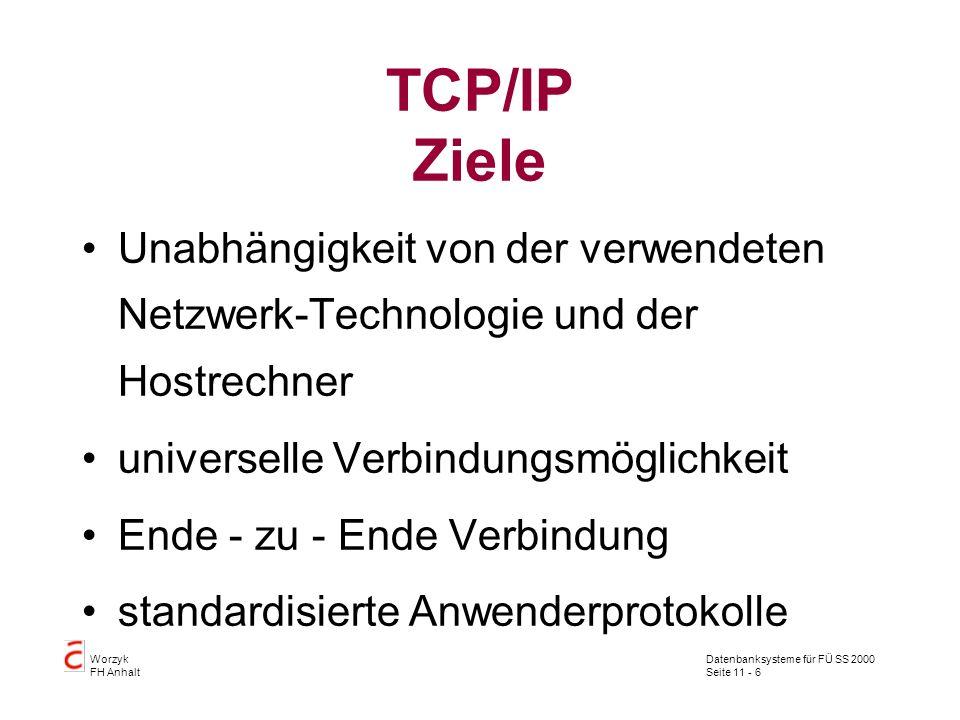 Datenbanksysteme für FÜ SS 2000 Seite 11 - 6 Worzyk FH Anhalt TCP/IP Ziele Unabhängigkeit von der verwendeten Netzwerk-Technologie und der Hostrechner