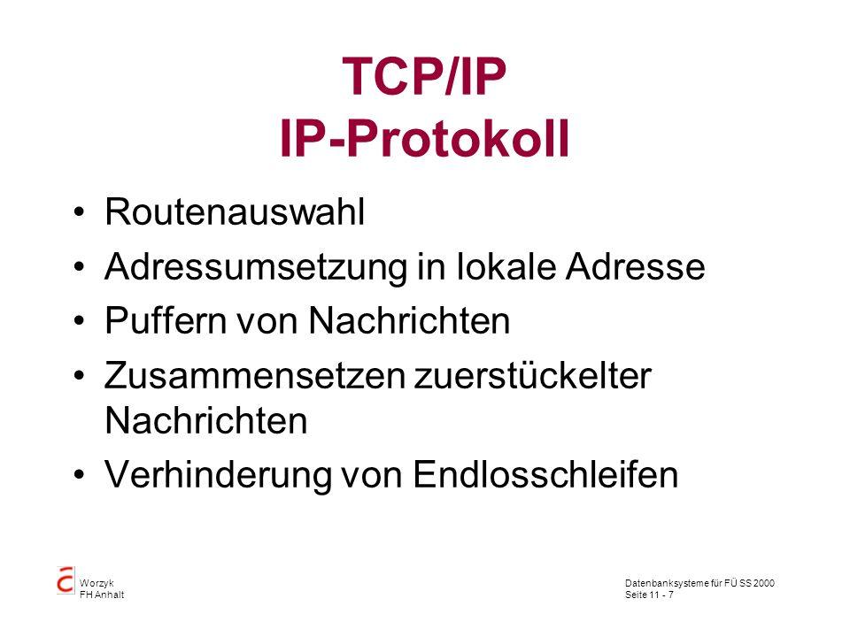 Datenbanksysteme für FÜ SS 2000 Seite 11 - 7 Worzyk FH Anhalt TCP/IP IP-Protokoll Routenauswahl Adressumsetzung in lokale Adresse Puffern von Nachrich
