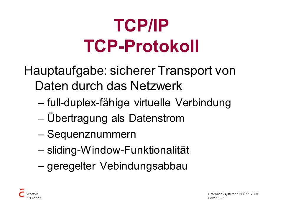 Datenbanksysteme für FÜ SS 2000 Seite 11 - 8 Worzyk FH Anhalt TCP/IP TCP-Protokoll Hauptaufgabe: sicherer Transport von Daten durch das Netzwerk –full