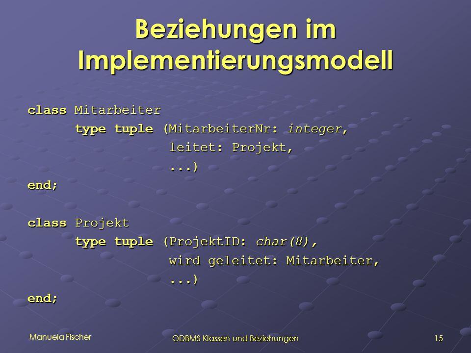 Manuela Fischer 15ODBMS Klassen und Beziehungen Beziehungen im Implementierungsmodell class Mitarbeiter type tuple (MitarbeiterNr: integer, leitet: Projekt,...) end; class Projekt type tuple (ProjektID: char(8), wird geleitet: Mitarbeiter,...) end;