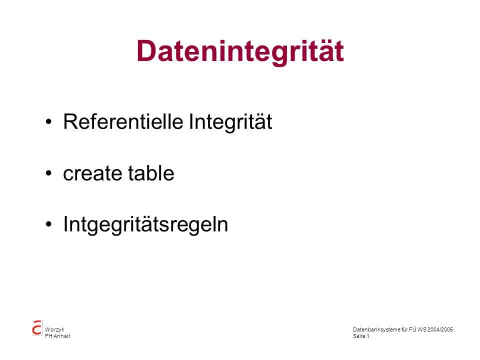 Datenbanksysteme für FÜ WS 2004/2005 Seite 1 Worzyk FH Anhalt Datenintegrität Referentielle Integrität create table Intgegritätsregeln