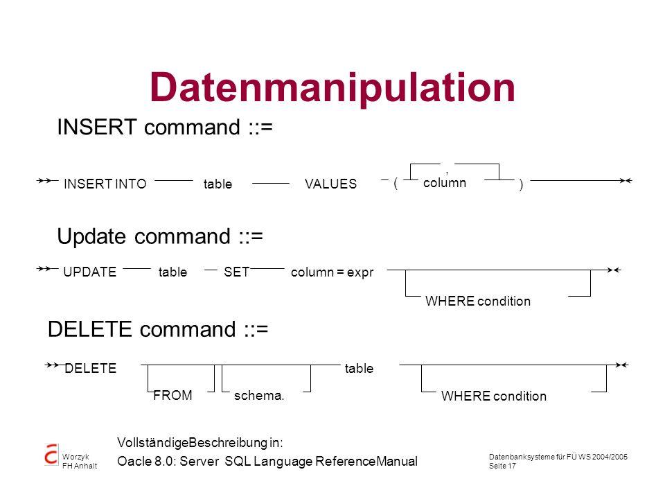 Datenbanksysteme für FÜ WS 2004/2005 Seite 17 Worzyk FH Anhalt Datenmanipulation INSERT command ::= INSERT INTOtableVALUES (column ), Update command :
