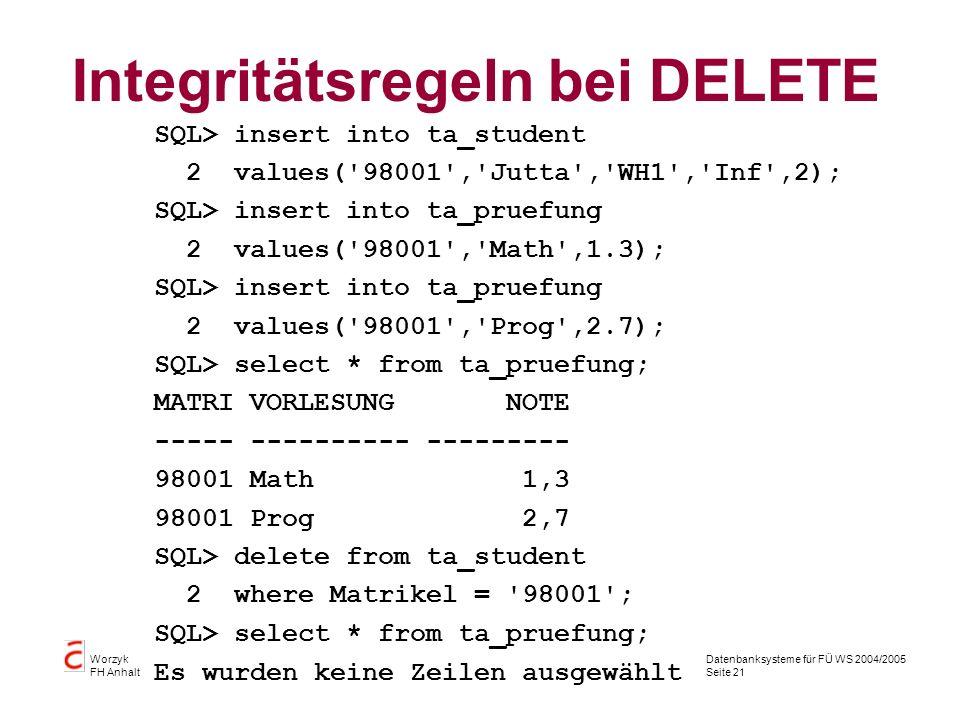 Datenbanksysteme für FÜ WS 2004/2005 Seite 21 Worzyk FH Anhalt Integritätsregeln bei DELETE SQL> insert into ta_student 2 values('98001','Jutta','WH1'
