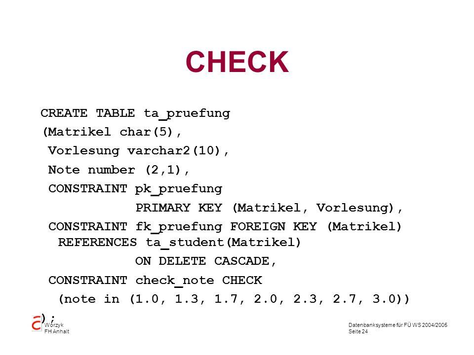 Datenbanksysteme für FÜ WS 2004/2005 Seite 24 Worzyk FH Anhalt CHECK CREATE TABLE ta_pruefung (Matrikel char(5), Vorlesung varchar2(10), Note number (
