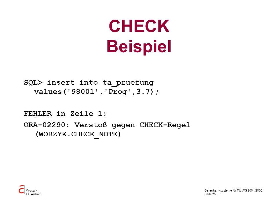 Datenbanksysteme für FÜ WS 2004/2005 Seite 25 Worzyk FH Anhalt CHECK Beispiel SQL> insert into ta_pruefung values('98001','Prog',3.7); FEHLER in Zeile