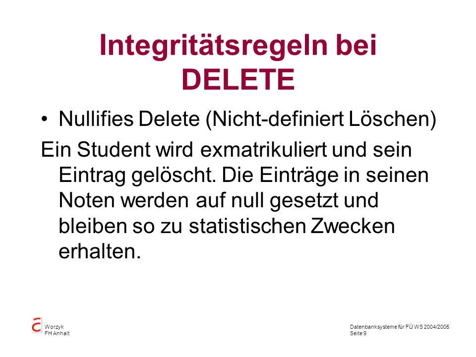 Datenbanksysteme für FÜ WS 2004/2005 Seite 9 Worzyk FH Anhalt Integritätsregeln bei DELETE Nullifies Delete (Nicht-definiert Löschen) Ein Student wird