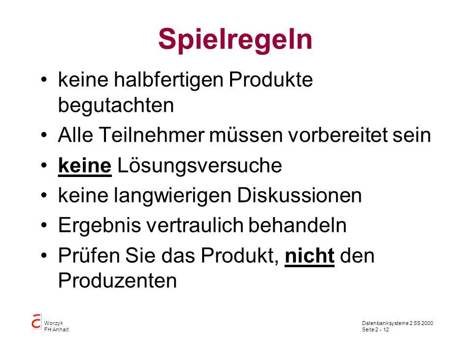 Datenbanksysteme 2 SS 2000 Seite 2 - 12 Worzyk FH Anhalt Spielregeln keine halbfertigen Produkte begutachten Alle Teilnehmer müssen vorbereitet sein k