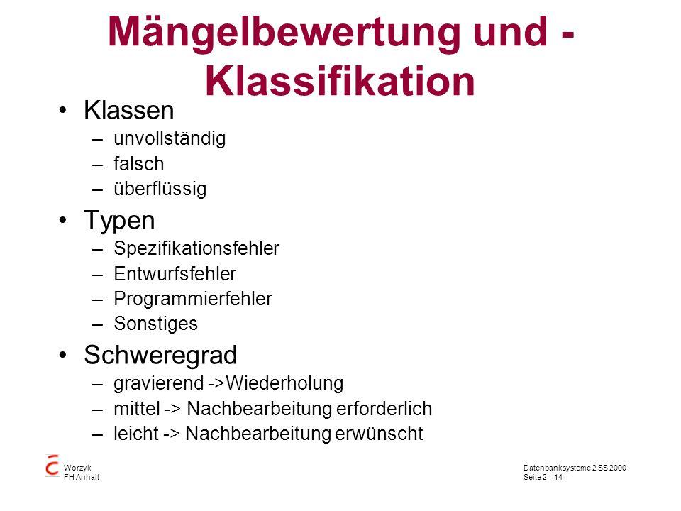 Datenbanksysteme 2 SS 2000 Seite 2 - 14 Worzyk FH Anhalt Mängelbewertung und - Klassifikation Klassen –unvollständig –falsch –überflüssig Typen –Spezi