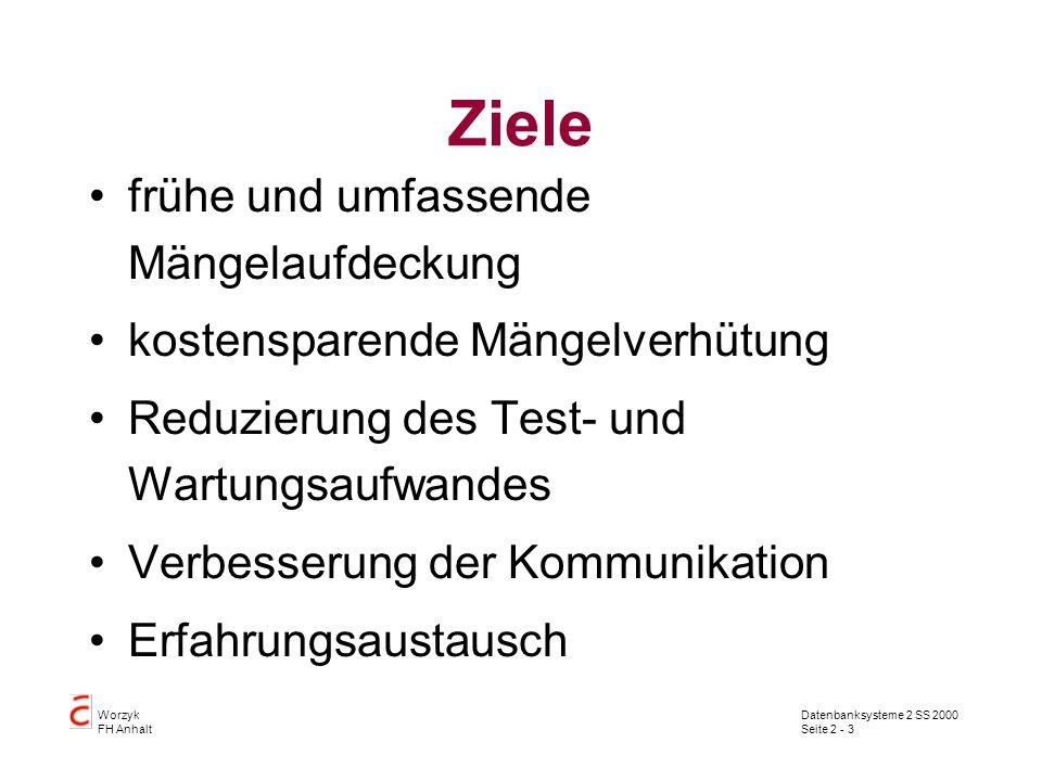 Datenbanksysteme 2 SS 2000 Seite 2 - 3 Worzyk FH Anhalt Ziele frühe und umfassende Mängelaufdeckung kostensparende Mängelverhütung Reduzierung des Tes