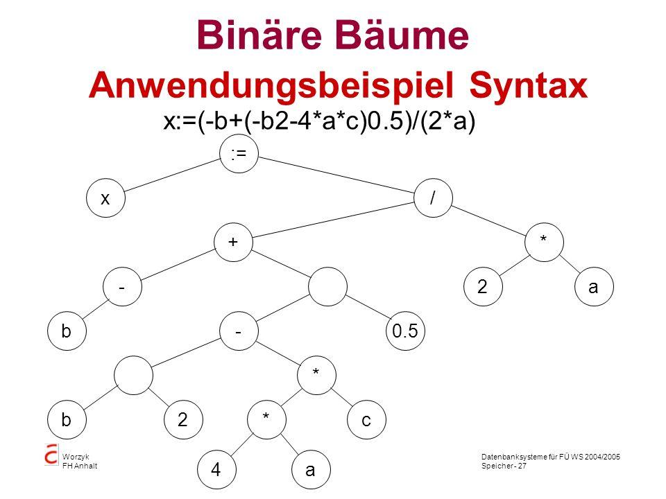 Datenbanksysteme für FÜ WS 2004/2005 Speicher - 27 Worzyk FH Anhalt Binäre Bäume Anwendungsbeispiel Syntax := x/ + - b a 2 a - 2 0.5 * * b 4 c* x:=(-b+(-b 2-4*a*c) 0.5)/(2*a)