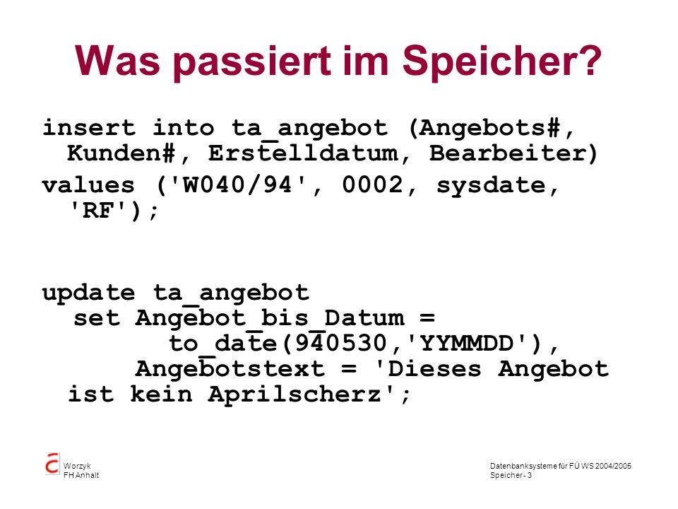 Datenbanksysteme für FÜ WS 2004/2005 Speicher - 24 Worzyk FH Anhalt Bäume einfügen Algorithmus: Nullzeiger (= Noch keine Wurzel vorhanden) ja -> Schlüssel einfügen, linker u.