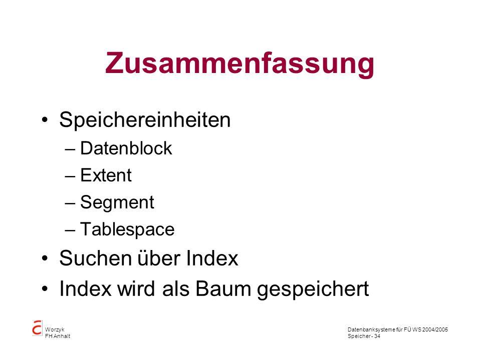 Datenbanksysteme für FÜ WS 2004/2005 Speicher - 34 Worzyk FH Anhalt Zusammenfassung Speichereinheiten –Datenblock –Extent –Segment –Tablespace Suchen über Index Index wird als Baum gespeichert