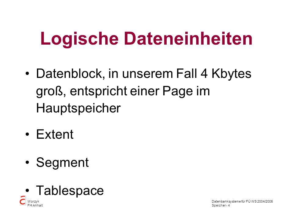 Datenbanksysteme für FÜ WS 2004/2005 Speicher - 15 Worzyk FH Anhalt vorhandene Tablespaces file BYTES tablespace --------------------------------------------- --------- -------------- /applications/oracle/oradata/prod/system01.db 183500800 SYSTEM /applications/oracle/oradata/prod/oemrep01.db 5242880 OEM_REPOSITORY /applications/oracle/oradata/prod/rbs01.dbf 31750144 RBS /applications/oracle/oradata/prod/temp01.dbf 10485760 TEMP /applications/oracle/oradata/prod/users01.dbf 10485760 USERS /applications/oracle/oradata/prod/indx01.dbf 10485760 INDX /applications/oracle/oradata/prod/reposi01.db 419430400 TS_REPOSITORY /applications/oracle/oradata/prod/drsys01.dbf 83886080 DRSYS /applications/oracle/oradata/prod/rs_temp.dbf 62914560 TS_TEMP /applications/oracle/oradata/prod/system02.db 41943040 SYSTEM /applications/oracle/oradata/prod/lehre01.dbf 41943040 TS_LEHRE