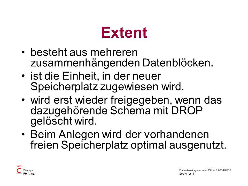 Datenbanksysteme für FÜ WS 2004/2005 Speicher - 6 Worzyk FH Anhalt Extent besteht aus mehreren zusammenhängenden Datenblöcken.
