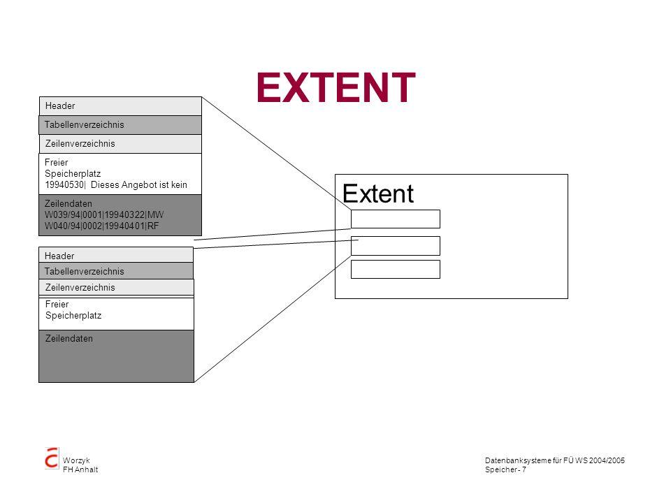 Datenbanksysteme für FÜ WS 2004/2005 Speicher - 8 Worzyk FH Anhalt Segment Ein Segment ist die Zusammenfassung aller Extents einer logischen Speicherstruktur.