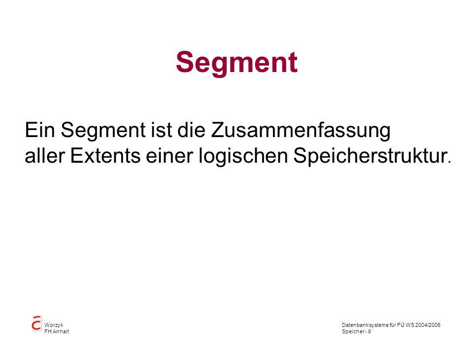 Datenbanksysteme für FÜ WS 2004/2005 Speicher - 9 Worzyk FH Anhalt Segment