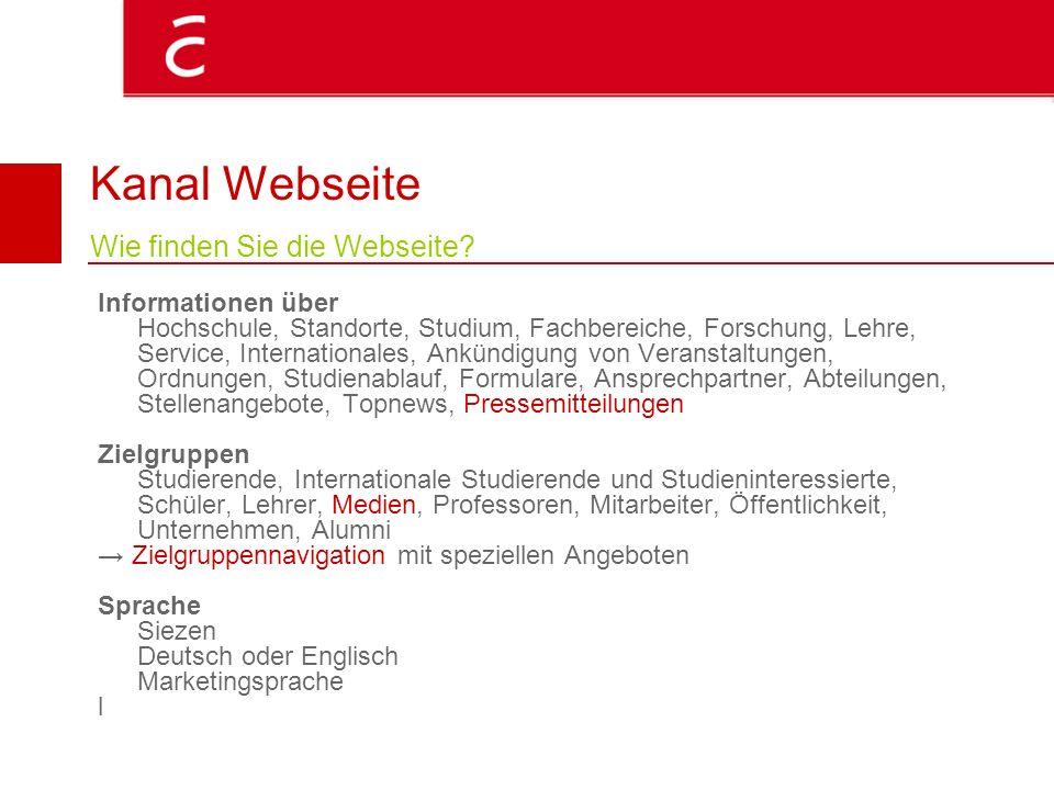 Kanal Webseite Wie finden Sie die Webseite? Informationen über Hochschule, Standorte, Studium, Fachbereiche, Forschung, Lehre, Service, Internationale