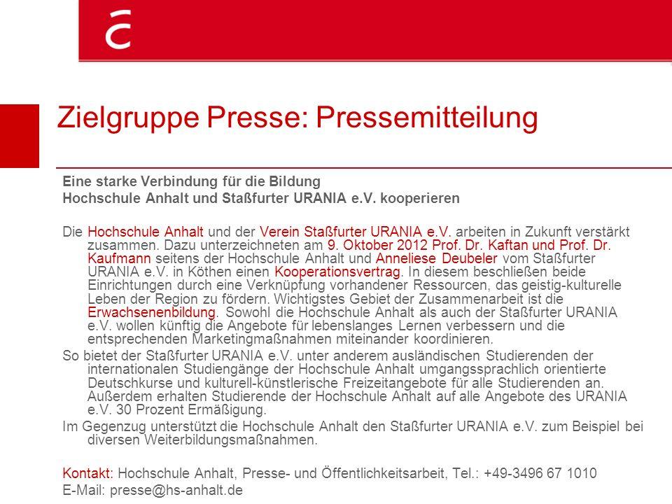 Zielgruppe Presse: Pressemitteilung Eine starke Verbindung für die Bildung Hochschule Anhalt und Staßfurter URANIA e.V. kooperieren Die Hochschule Anh