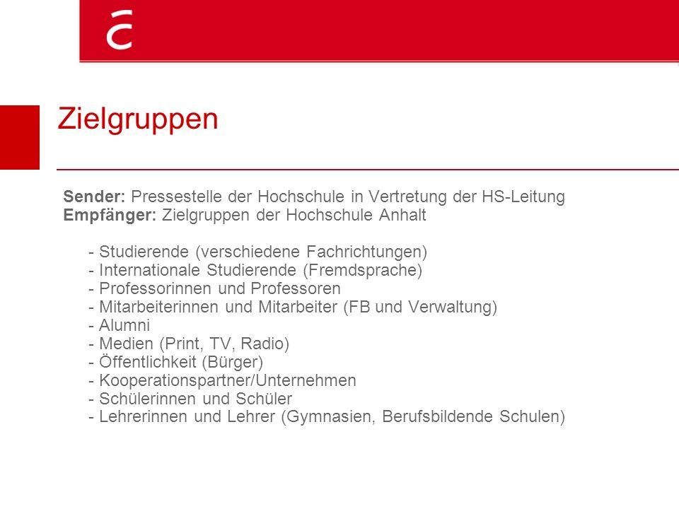 Zielgruppen Sender: Pressestelle der Hochschule in Vertretung der HS-Leitung Empfänger: Zielgruppen der Hochschule Anhalt - Studierende (verschiedene