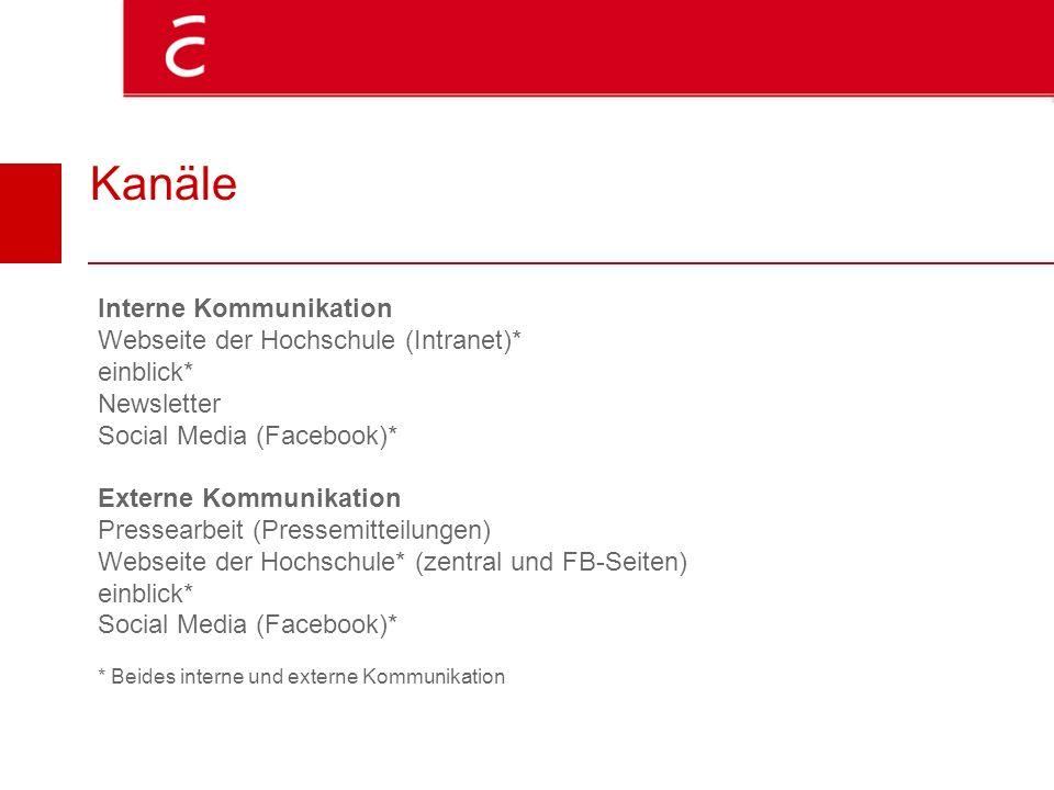 Kanäle Interne Kommunikation Webseite der Hochschule (Intranet)* einblick* Newsletter Social Media (Facebook)* Externe Kommunikation Pressearbeit (Pre