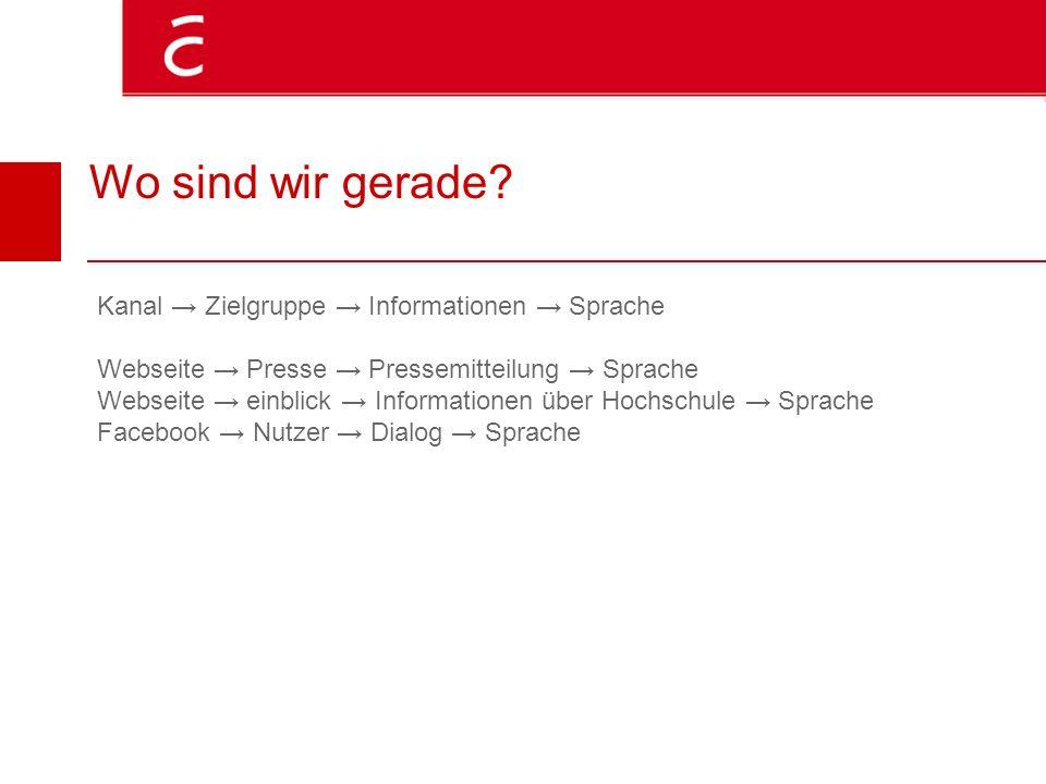 Wo sind wir gerade? Kanal Zielgruppe Informationen Sprache Webseite Presse Pressemitteilung Sprache Webseite einblick Informationen über Hochschule Sp