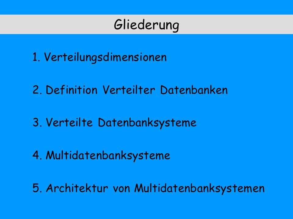 Gliederung 1. Verteilungsdimensionen 2. Definition Verteilter Datenbanken 3. Verteilte Datenbanksysteme 4. Multidatenbanksysteme 5. Architektur von Mu