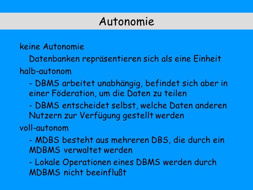 Autonomie keine Autonomie Datenbanken repräsentieren sich als eine Einheit halb-autonom - DBMS arbeitet unabhängig, befindet sich aber in einer Föderation, um die Daten zu teilen - DBMS entscheidet selbst, welche Daten anderen Nutzern zur Verfügung gestellt werden voll-autonom - MDBS besteht aus mehreren DBS, die durch ein MDBMS verwaltet werden - Lokale Operationen eines DBMS werden durch MDBMS nicht beeinflußt