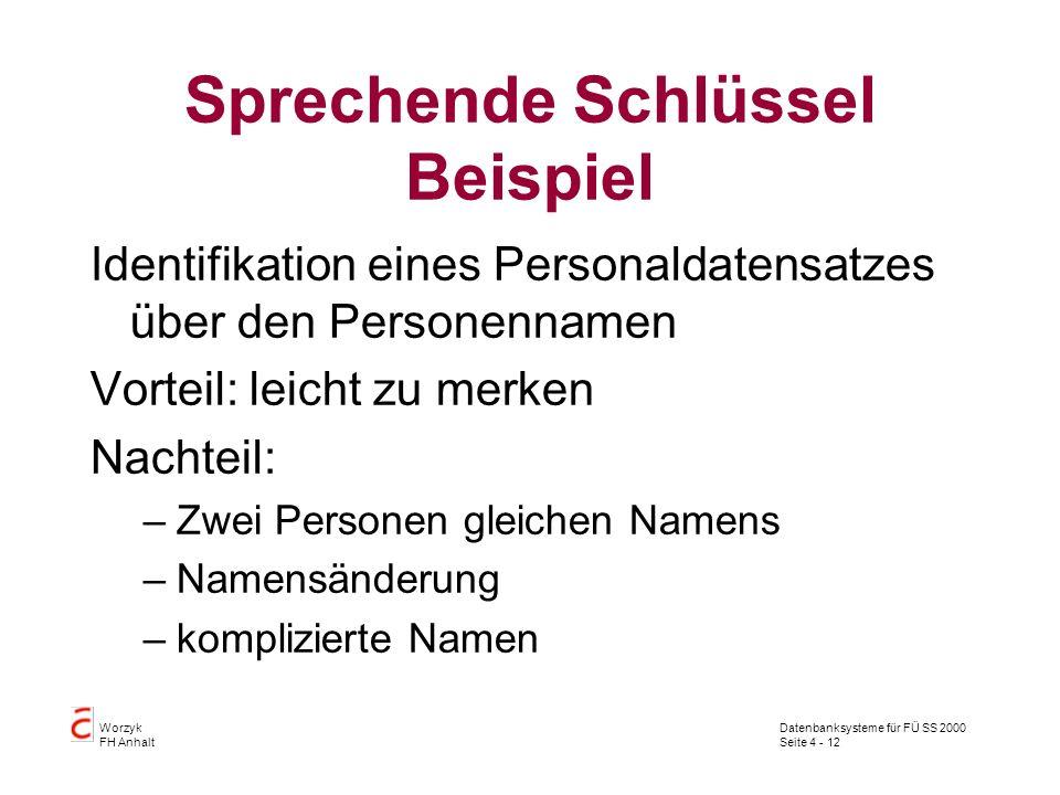 Datenbanksysteme für FÜ SS 2000 Seite 4 - 12 Worzyk FH Anhalt Sprechende Schlüssel Beispiel Identifikation eines Personaldatensatzes über den Personennamen Vorteil: leicht zu merken Nachteil: –Zwei Personen gleichen Namens –Namensänderung –komplizierte Namen