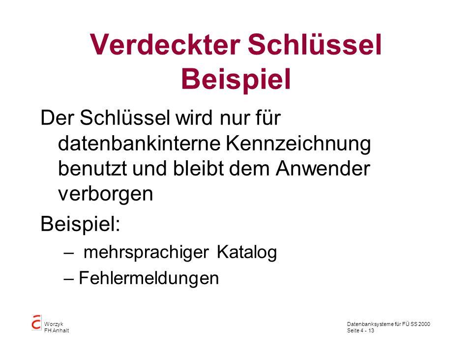 Datenbanksysteme für FÜ SS 2000 Seite 4 - 13 Worzyk FH Anhalt Verdeckter Schlüssel Beispiel Der Schlüssel wird nur für datenbankinterne Kennzeichnung benutzt und bleibt dem Anwender verborgen Beispiel: – mehrsprachiger Katalog –Fehlermeldungen