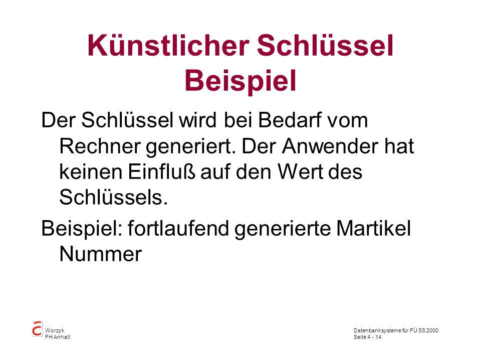 Datenbanksysteme für FÜ SS 2000 Seite 4 - 14 Worzyk FH Anhalt Künstlicher Schlüssel Beispiel Der Schlüssel wird bei Bedarf vom Rechner generiert.