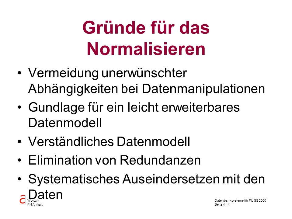 Datenbanksysteme für FÜ SS 2000 Seite 4 - 4 Worzyk FH Anhalt Gründe für das Normalisieren Vermeidung unerwünschter Abhängigkeiten bei Datenmanipulationen Gundlage für ein leicht erweiterbares Datenmodell Verständliches Datenmodell Elimination von Redundanzen Systematisches Auseindersetzen mit den Daten
