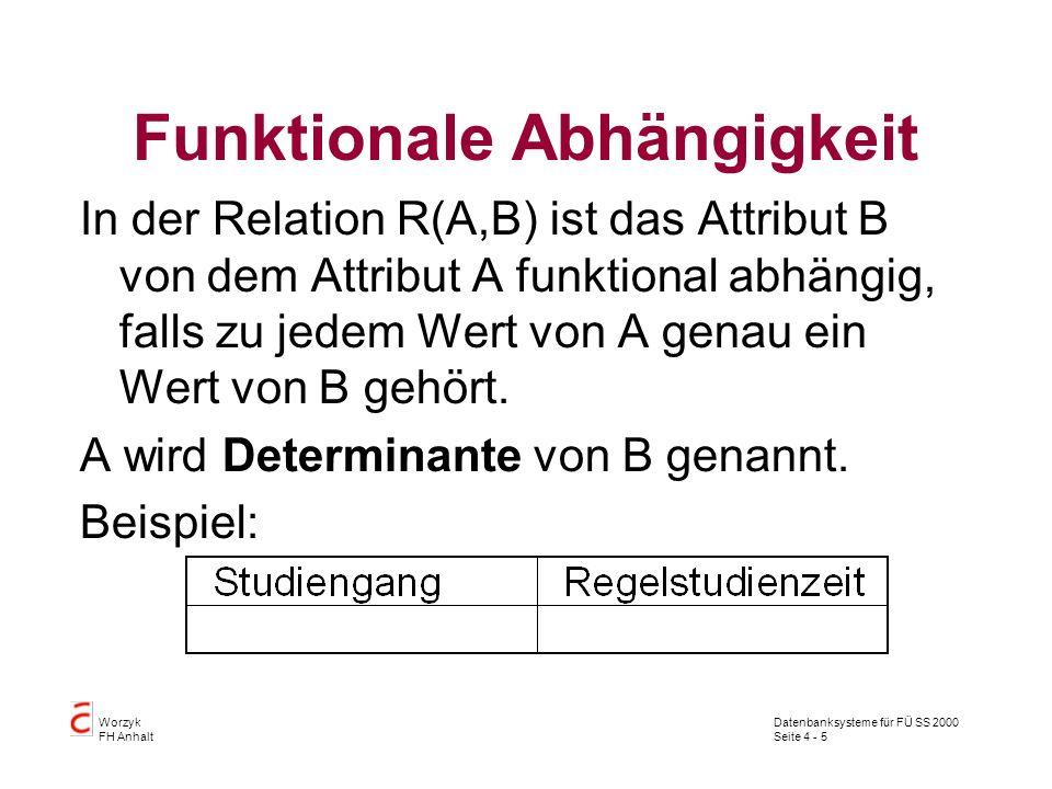 Datenbanksysteme für FÜ SS 2000 Seite 4 - 5 Worzyk FH Anhalt Funktionale Abhängigkeit In der Relation R(A,B) ist das Attribut B von dem Attribut A funktional abhängig, falls zu jedem Wert von A genau ein Wert von B gehört.